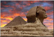 Leinwandbild Pyramid and Sphinx at Giza, Cairo