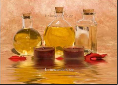 Leinwandbild - MAXFX : Essential body massage oils in bottles