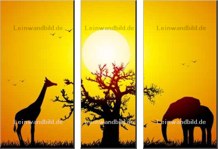 Leinwandbild - UBE : Elephant and giraffe with a baobab at sunset