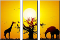 Leinwandbild Elephant and giraffe with a baobab at sunset