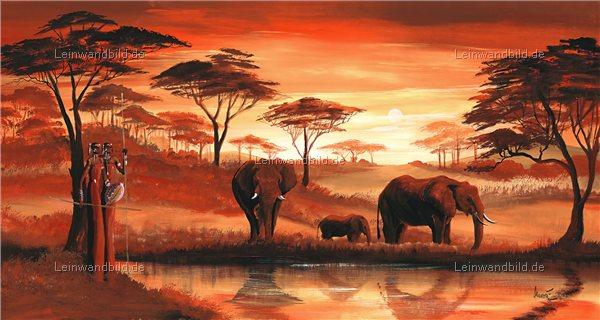 Leinwandbild motiv mia morro elefanten am see leinwandbild keilrahmenbild wandbild - Wandbilder malen motive ...