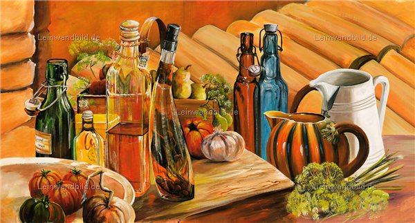Mediterrane Gemälde leinwandbild motiv morro essig und öl stilleben