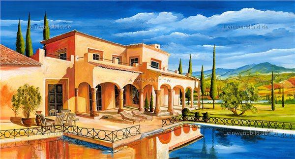 Mediterrane Gemälde leinwandbild motiv morro mediterrane villa mit pool